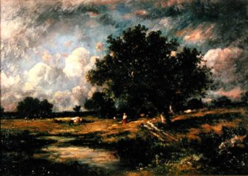 Landscape with cows and figures   Leon Victor Dupre   oil painting