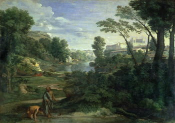 Landscape with Diogenes 1648   Nicolas Poussin   oil painting