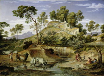 Landscape with Shepherds and Cows and at the Spring 1832 34 | Joseph Anton Koch | oil painting