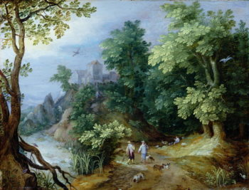 Landscape with Sportsmen and Dogs | Paul Brill or Bril | oil painting