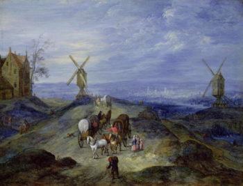 Landscape with Two Windmills 1612 | Jan the Elder Brueghel | oil painting