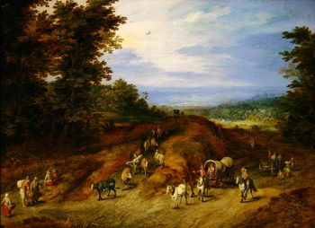 Landscape with peasants carts and animals | Jan the Elder Brueghel | oil painting