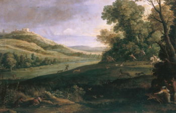 Landscape with Rabbit Hunt | Paul Brill or Bril | oil painting