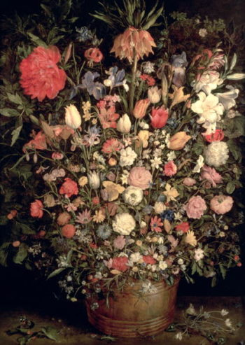 Large bouquet of flowers in a wooden tub 1606 07 | Jan the Elder Brueghel | oil painting