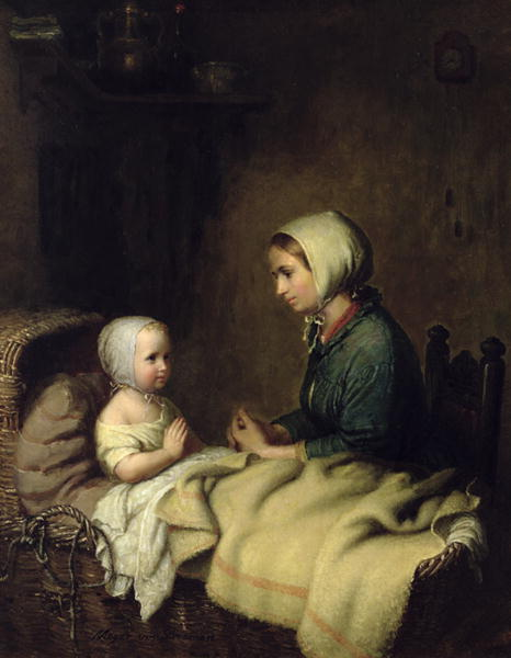 Little Girl Saying Her Prayers in Bed | Meyer von Bremen | oil painting