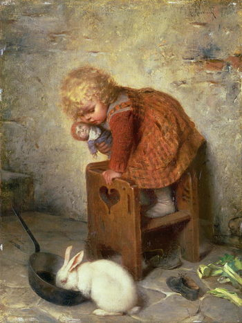 Little Girl with a Rabbit | Hermann Kaulbach | oil painting