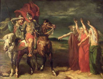 Macbeth and the Three Witches 1855   Theodore Chasseriau   oil painting