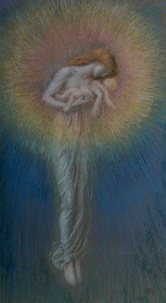 Motherhood 1890s   Arthur Hughes   oil painting