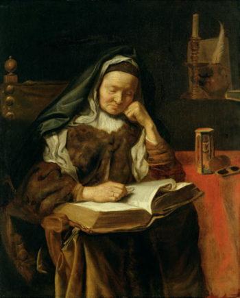 Old Woman Sleeping   Cornelis Bisschop   oil painting