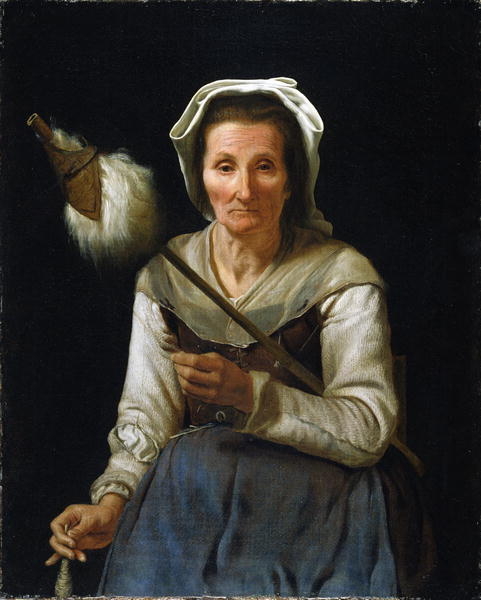 Old Woman Spinning 1646 48   Michael Sweerts   oil painting