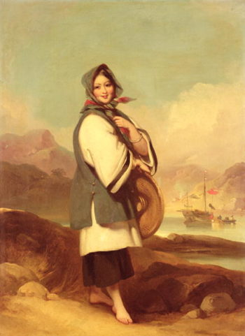 Portrait of a Eurasian girl against a Chinese River Landscape | George Chinnery | oil painting