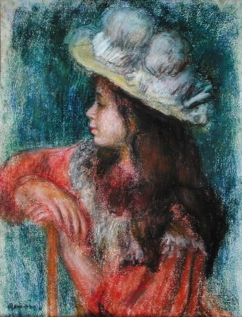 Seated Young Girl in a White Hat 1884 | Pierre Auguste Renoir | oil painting