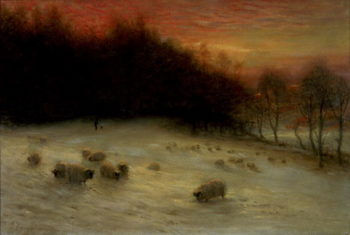 Sheep in a Winter Landscape Evening | Joseph Farquharson | oil painting