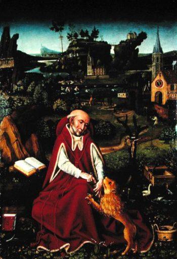 St Jerome and the Lion   Hans Leonard Schaufelein   oil painting