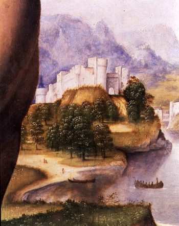 St Jerome detail of the landscape | Cesare da Sesto | oil painting
