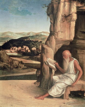 St Jerome Reading in a Landscape | Giovanni Bellini | oil painting
