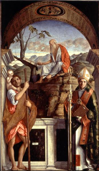 St Jerome St Christopher and St Augustine 1513 | Giovanni Bellini | oil painting