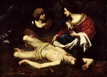 St Sebastian Tended by St Irene | Nicolas Regnier | oil painting