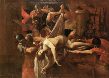 St Sebastian thrown by soldiers into Cloaca Maxima | Lodovico Carracci | oil painting