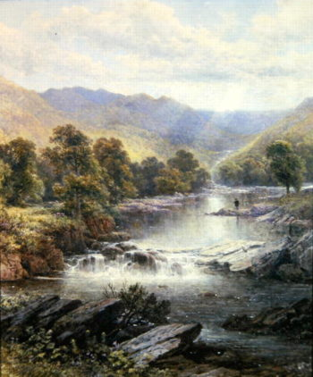 An Angler in a River Valley | Alfred Glendening | oil painting