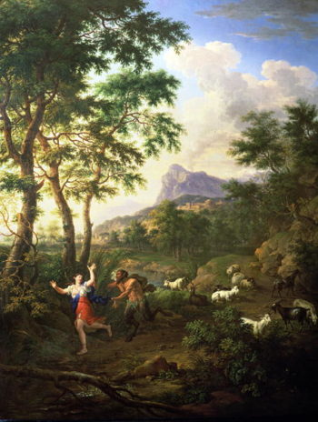 An Arcadian Landscape with Pan and Syrinx | Jacob de Heusch | oil painting
