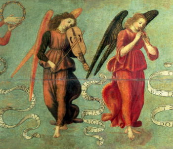 Angels playing the fiddle and pipe 1475 97 | Francesco Botticini | oil painting