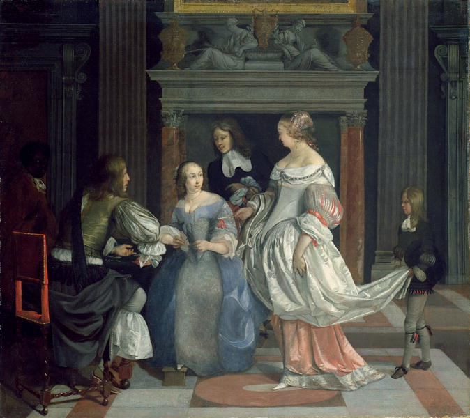 An Interior with Ladies and Gentlemen at Cards mid 1660 | Eglon Hendrick van der Neer | oil painting