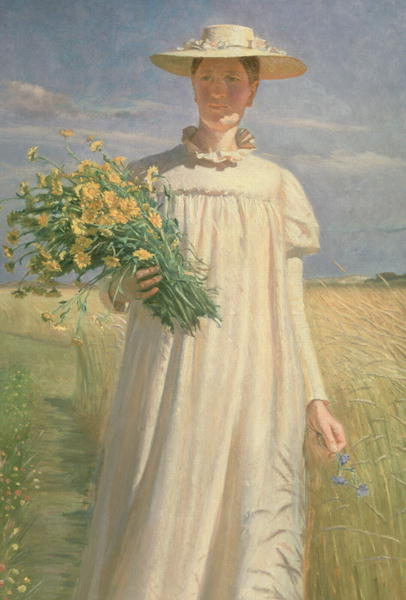 Anna Ancher returning from Flower Picking 1902 | Michael Peter Ancher | oil painting
