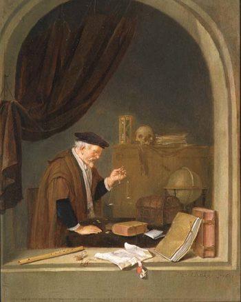 An Old Man Weighing Gold 1667 | Quiringh Gerritsz van Brekelenkam | oil painting