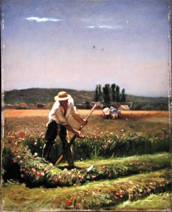 A peasant mowing | Charles Emile Jacque | oil painting