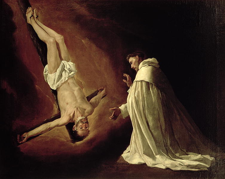 Appearance of St Peter to St Peter Nolasco   Francisco de Zurbaran   oil painting