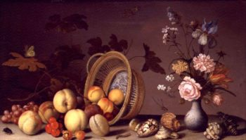 Apples cherries grapes plums and a vase of flowers | Balthasar van der Ast | oil painting