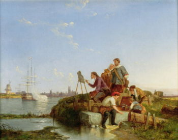 Artist at his Easel and Shipping beyond 1894   or Dommersen Christiaan Cornelis Dommelshuizen   oil painting
