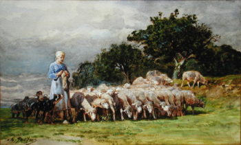 A Shepherdess with a Flock of Sheep | Charles Emile Jacques | oil painting