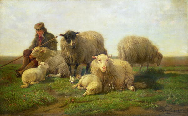A Shepherd with Sheep and Lambs | Cornelis van Leemputten | oil painting