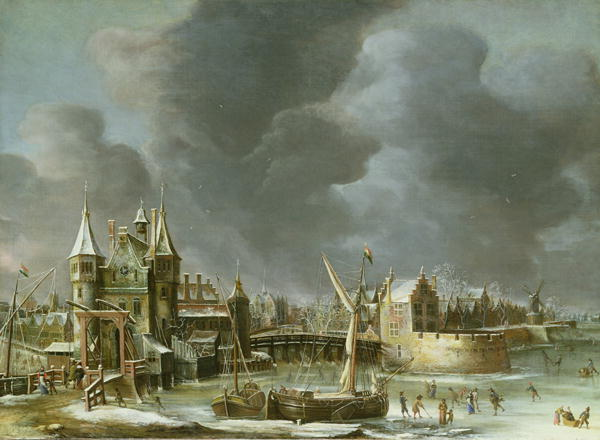 A View of the Regulierspoort Amsterdam in winter | Jan Abrahamsz Beerstraten | oil painting