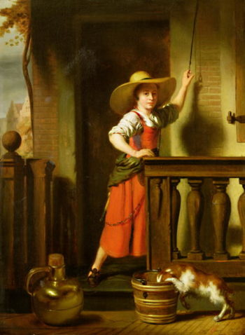 A Woman Selling Milk | Nicolaes Maes | oil painting