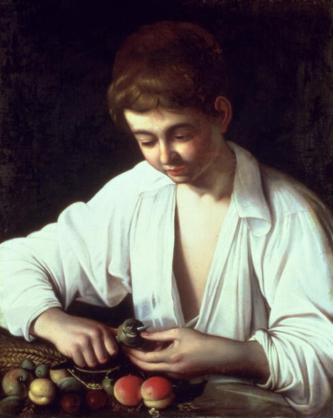 A Young Boy Peeling an Apple   Michelangelo Caravaggio   oil painting