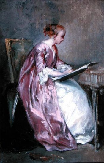 A Young Girl Drawing | Charles Chaplin | oil painting