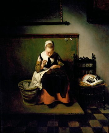 A Young Woman Sewing | Nicolaes Maes | oil painting