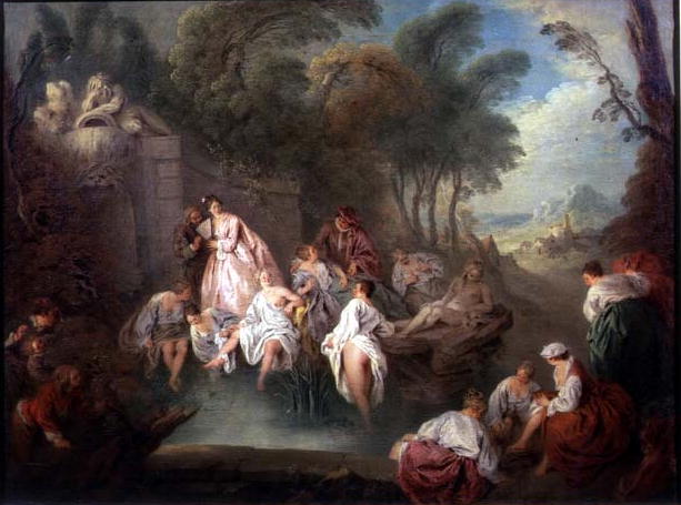 Bathing Party in a Park 1730s | Jean Baptiste Joseph Pater | oil painting