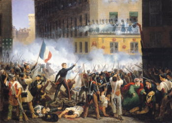 Battle in the rue de Rohan 28th July 1830 1830 | Hippolyte Lecomte | oil painting