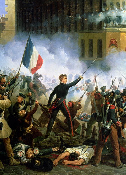 Battle in the Rue de Rohan 28th July 1830 1831   Hippolyte Lecomte   oil painting
