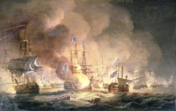 Battle of the Nile 1st August 1798 at 10pm 1834 | Thomas Luny | oil painting