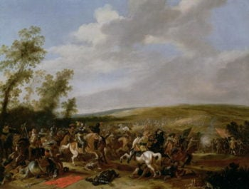 Battle Scene at Lutzen between King Gustavus Adolfus of Sweden against the Troops of Wallenstein 1632 | Palamedes Palamedesz | oil painting
