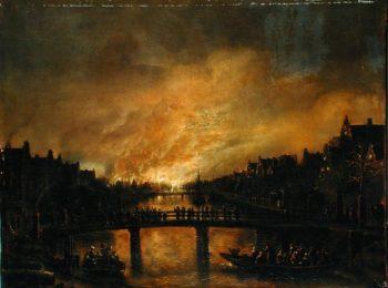 Blaze in Amsterdam | Aert van der Neer | oil painting