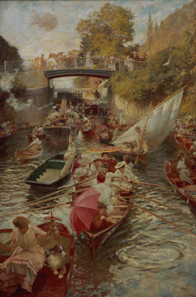 Boulter's Lock Sunday Afternoon 1895 | Edward John Gregory | oil painting