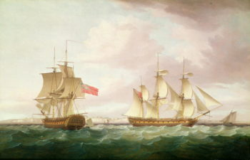 British Frigates off Dover | Thomas Whitcombe | oil painting