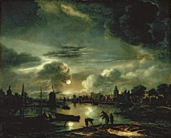Canal Scene by Moonlight 1645 50 | Aert van der Neer | oil painting