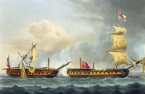 Capture of La Fique January 5th 1795 | Thomas Whitcombe | oil painting
